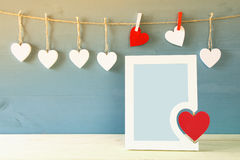 Blank photo frame with red heart Royalty Free Stock Images