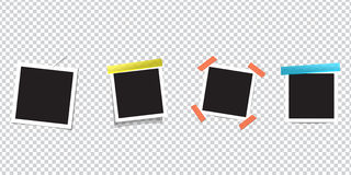 Blank Photo frame on scotch tape. Isolated on transparent background. Retro vintage style.Black empty place for your text or photo. Blank Photo frame on scotch Stock Images