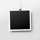 Blank photo frame set hanging on a clip. Retro vintage style. Black empty place for your text or photo. Realistic detailed photo  Stock Photo