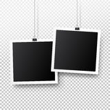 Blank photo frame set hanging on a clip. Retro vintage style. Black empty place for your text or photo. Realistic detailed photo. Icon design template. Vector Royalty Free Stock Images