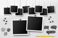 Blank photo frame set hanging on a clip. Retro vintage style. Black empty place for your text or photo. Realistic detailed photo i. Con design template. Vector Royalty Free Stock Images