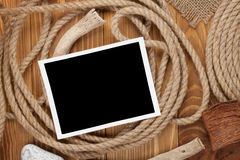 Blank photo frame with ship rope Royalty Free Stock Photos