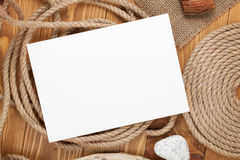 Blank photo frame with ship rope Royalty Free Stock Image