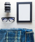 Blank Photo frame with Traveller equipment. stock photos