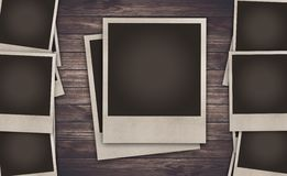 Blank Photo frame on wooden background royalty free stock images