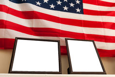 Blank photo frames on american flag background Royalty Free Stock Photos