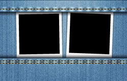 Blank photo frames in blue jeans pocket Royalty Free Stock Image