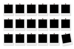 Blank Photo Frames. Blank Polaroid Photo Frames on white board Stock Photo
