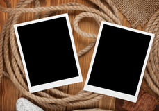 Blank photo frames with ship rope Royalty Free Stock Images