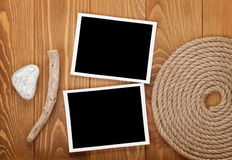 Blank photo frames with ship rope Royalty Free Stock Image