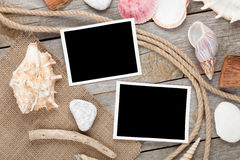 Blank photo frames with ship rope Royalty Free Stock Photography