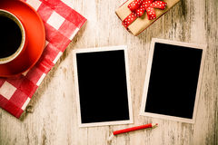 Blank photo frames on table Royalty Free Stock Photography