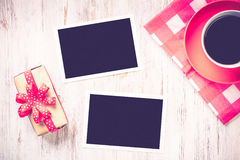Blank photo frames on table Royalty Free Stock Images