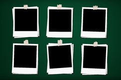 Blank photo frames with tapes, on green board backgrounds. Blank photo frames with tapes, on green board background Stock Photo