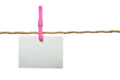 Blank Photo Hanging on Rope Stock Photography