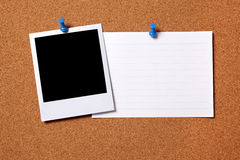 Polaroid index card cork bulletin board copy space Royalty Free Stock Photos