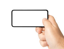 Blank photo with mobile phone Royalty Free Stock Photos