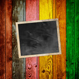 Blank Photo. On Multicolored Wood Background Stock Images
