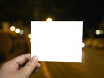 Blank photo and night light background. Blank photos for give memories stock photo