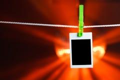 Blank photo on orange lights background Royalty Free Stock Image
