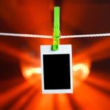 Blank photo on orange lights background Stock Photography