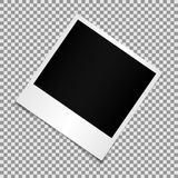 Blank photo polaroid frame with adhesive tape isolated on transparent background, shadow effect and Stock Photography