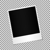 Blank photo polaroid frame with adhesive tape isolated on transparent background, shadow effect and Stock Images