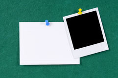 Polaroid frame pushpin blank index card copy space Stock Photo