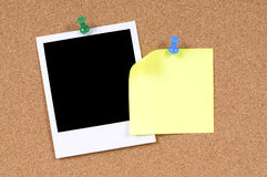 Polaroid frame photo print with yellow post it style sticky note, blank, copy space Stock Photography