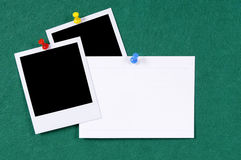 Polaroid frames pushpin blank index card copy space Stock Image