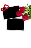 Blank photo prints and roses Stock Photos