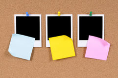 Three polaroid photo frames, office post-it style sticky notes copy space Stock Photos