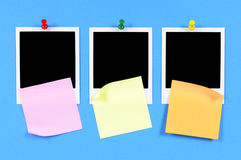 Three polaroid frame photo prints sticky notes copy space Royalty Free Stock Images