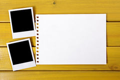 Polaroid frame photo prints torn paper copy space Royalty Free Stock Photography