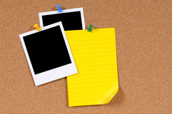 Polaroid frame photo prints yellow sticky note copy space Royalty Free Stock Photos