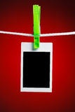 Blank photo on red background Royalty Free Stock Photography