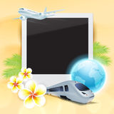 Blank photo on sand with airplane, train, globe, flowers and pal Royalty Free Stock Image