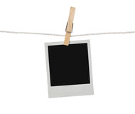 Blank photograph on the clothesline Royalty Free Stock Images