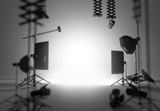 Blank Photography Studio. A blank and empty photography studio setup. 3D illustration royalty free stock photo