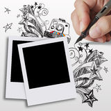 Blank photos. Hand draws doodles art and blank photos Stock Images