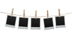 Blank photos on the clothesline Stock Image