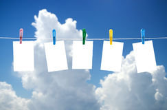 Blank photos hanging on a clothesline Stock Photography
