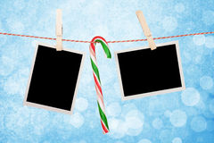 Blank photos hanging on clothesline Royalty Free Stock Image