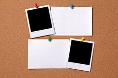Polaroid photo frame index card cork board copy space Royalty Free Stock Photo