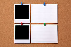 Polaroid photo frame note index card cork background copy space Royalty Free Stock Photography