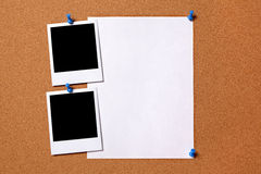 Polaroid frame photo print paper poster cork background copy space Royalty Free Stock Images