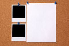 Blank polaroid photo frame paper poster cork board copy space Royalty Free Stock Photography