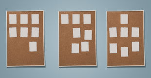 Blank photos pined on cork board Royalty Free Stock Photography
