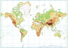 Blank Physical World Map isolated on white Royalty Free Stock Photos