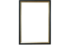 Blank picture black frame template isolated on wall Royalty Free Stock Photography
